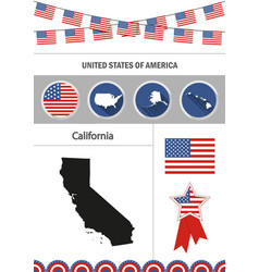 Map california set flat design icons vector