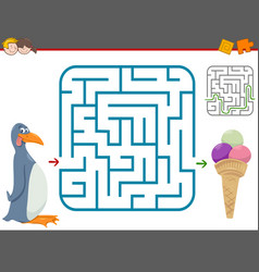Maze leisure game with penguin vector