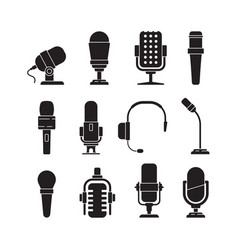 microphone icons music singer items conference vector image