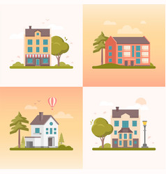 nice buildings - set of modern flat design style vector image