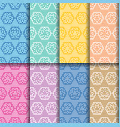 Ornament seamless patterns colored set vector