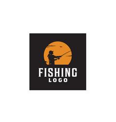 Outdoor angler fishing sunset silhouette logo vector