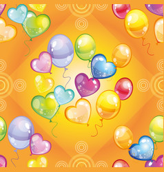pattern with colorful balloons on green background vector image
