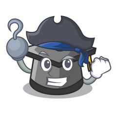Pirate graduation hat character cartoon vector