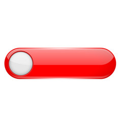 red menu button with white circle oval glass 3d vector image
