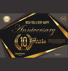 Retro vintage anniversary background 10 years vector