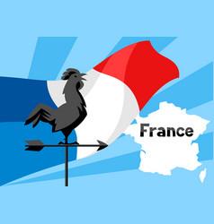 rooster weathervane on flag france vector image