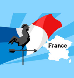 rooster weathervane on flag of france vector image