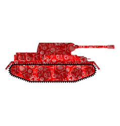 russian tank khokhloma painting russia military vector image