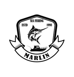 sea fishing emblem template with marlin design vector image