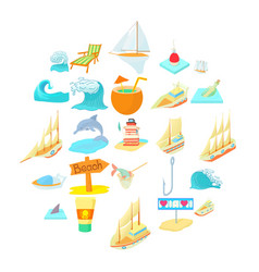 Seafaring icons set cartoon style vector