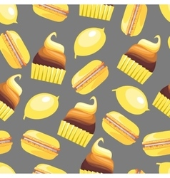 Seamless pattern with tasty macaroons cupcake vector image