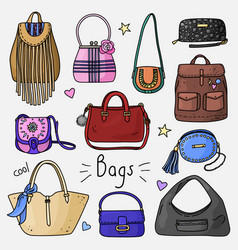 Set of hand drawn women accessories bags vector