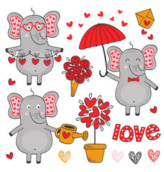 set of isolated elephant in love part 2 vector image