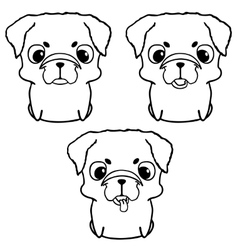 Set of pug puppies Hand drawn vector image