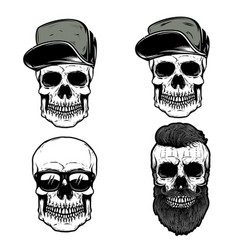 set of skull in baseball caps design element for vector image