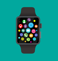 smart watch with icons vector image