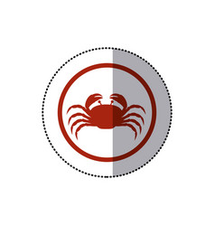 sticker red circular ornament with crab inside vector image