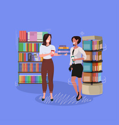 students couple standing near bookshelf mix race vector image