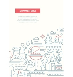 Summer barbecue and picnic line design poster vector image