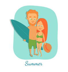summer cartoon characters vector image