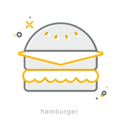 Thin line icons Hamburger vector image