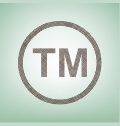Trade mark sign brown flax icon on green vector