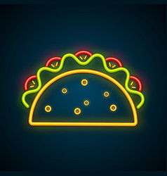 traditional mexican taco advertising neon sign vector image