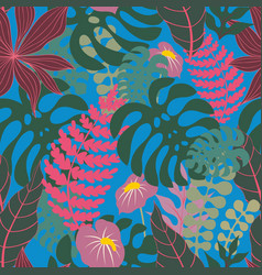 Tropical plants on a blue background seamless vector