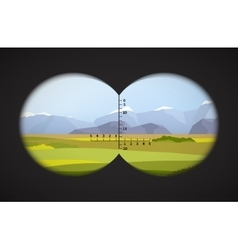View from binoculars on landscape with fields vector