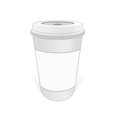 White cup of coffee with the label vector image