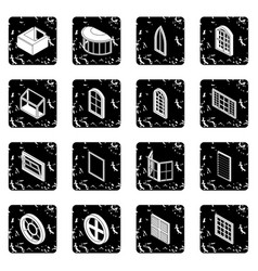 Window forms icons set grunge vector