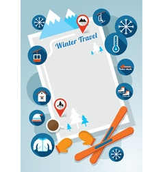 Winter Icons Frame and Background vector image