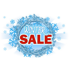 winter sale - banner with text on blue wreath vector image