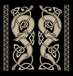 wolfs in celtic style and celtic pattern vector image