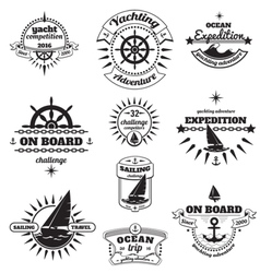 Yachting emblems set vector image