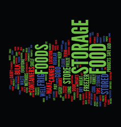 Food storage text background word cloud concept vector