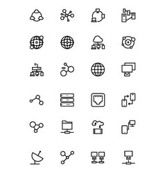 Network and Sharing Outline Icons 1 vector image vector image