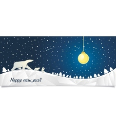 New Year banner with bears in the north vector image vector image