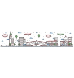 Travel in Venice city line flat design banner vector image vector image