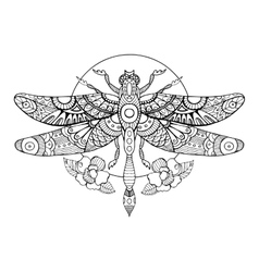 Dragonfly coloring book for adults vector image vector image