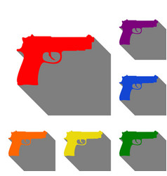 gun sign set of red orange yellow vector image