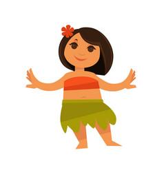 small girl in hawaiian traditional clothes vector image vector image