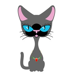 Beautiful cat with necklace of precious stones vector