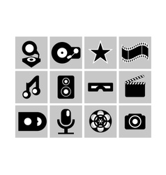 Black and white cimena and music icons vector image vector image