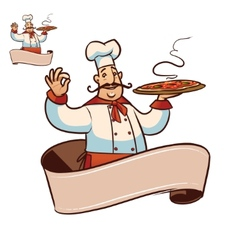 cartoon cook character with ribbon for title vector image vector image