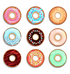 donuts with cream and chocolate vector image