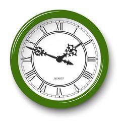 elegant roman wall clock in green glossy body vector image