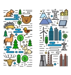 flat nature and city vector image