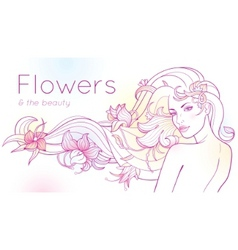 flowers and the beauty vector image